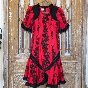 RUH HAWAII BLACK RED RUFFLE DRESS EXCELLENT
